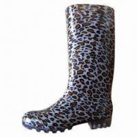 China Ladies PVC Rain Boots, Leopard Skin Pattern Lining wholesale