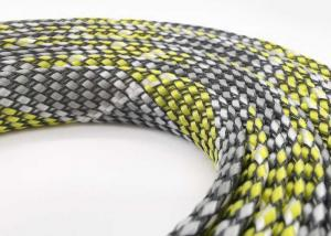 China PET PP Yarn Wiring Harness Electrical Braided Sleeving 80mm Yellow Black Color on sale