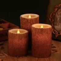 China Set of 3 Bark Simulation Pillar LED Candles with 10-Key Remote and Cycling 24 Hours Timer on sale