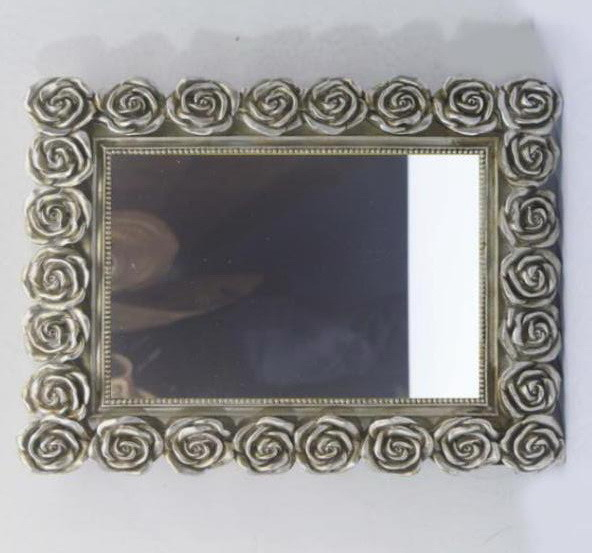 Quality Rose Hanging Rectangle Resin Wall Mirror Shabby Cottage Chic Melody Floral for sale
