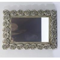 China Rose Hanging Rectangle Resin Wall Mirror Shabby Cottage Chic Melody Floral wholesale