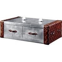 Vintage Retro Side Coffee Table Genuine Leather Aluminium Sheet Drawer Plywood Frame