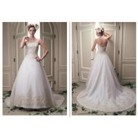 China Girls Attractive A Line Style Wedding Dresses Without Sleeve Floor Length wholesale