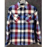 men Cheap plaid blouse stocklots full sleeve tops stock,man clothes inventory wholesaler