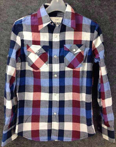 Quality men Cheap plaid blouse stocklots full sleeve tops stock,man clothes inventory wholesaler for sale
