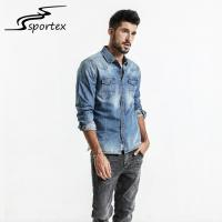China Long Sleeve Mens Washed Denim Shirt Customized Color Beautiful Appearance on sale