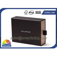 China Soft Touch Film Laminated Cardboard Drawer Style Rigid Box with Cotton Handle wholesale