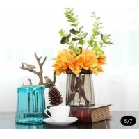 China Blue Solid Standing Decorative Glass Vases Handmade For Flower House Hotel wholesale