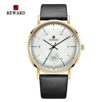 China SGS Mens Leather Strap Watches 2.5D Mineral Glass Three Hand 3 Atm Water Resistant wholesale