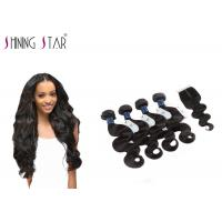 China 4 Bundles Unprocessed Remy Hair Extensions Weave With Closure No Bad Smell wholesale