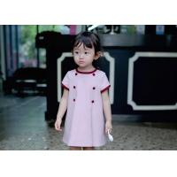 China French knit short-sleeved double-breasted double breasted A girl dress wholesale