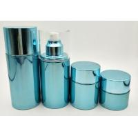 China Blue Glass Cosmetic Pump Bottles / Refillable Airless Pump Bottle Customized Size wholesale