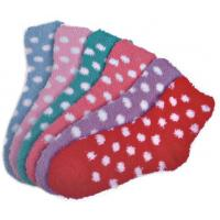 China Polka dot pattern Polyester plush socks with aloe infused , spa socks wholesale