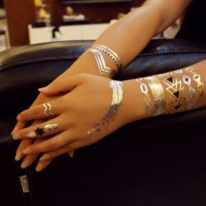 Full Color Flash Gold Foil Tattoo Metallic Fashionable For Body Art