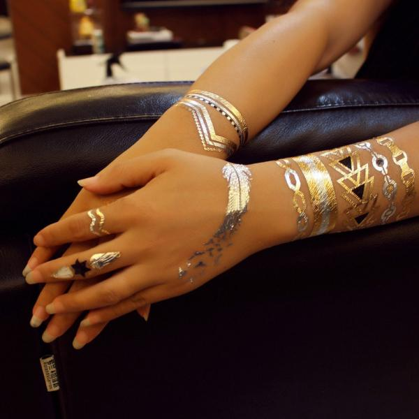 Quality Full Color Flash Gold Foil Tattoo Metallic Fashionable For Body Art for sale