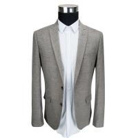 China Office Mens Knit Blazer Casual Slim Fit Knit Fabric Blazer Grey Color wholesale