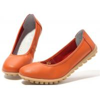Low Heeled Leather Comfortable Casual Shoes Flat Gum Rubber Outsole Womens Shoes