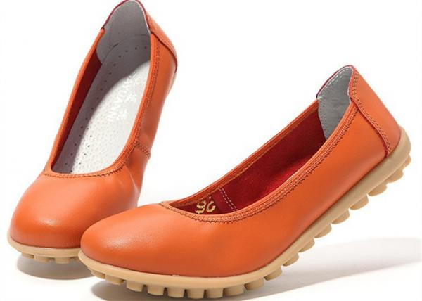 Quality Low Heeled Leather Comfortable Casual Shoes Flat Gum Rubber Outsole Womens Shoes for sale