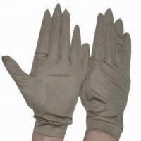 China 100% Pure Silk Gloves with 95% Silk/5% Spandex Cuff, Golden Tan, Perfect for Skiing, Climbing on sale