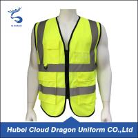 China Yellow Mesh Security Guard Jackets Reflective Safety Vest Customized Logo on sale