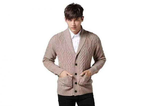 Quality Chunky Knit Cotton Acrylic Cable Mens Shawl Collar Cardigan Sweater for sale