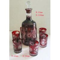 China Red Party Decrotion Stemless Wine Glass cup and bottle wine Sets / with one bottle  4 Cups wholesale