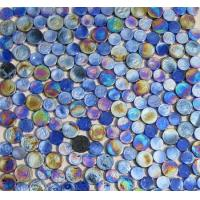 China Blue Mix Penny Round Iridescent Glass Mosaic Tile wholesale