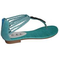 China Top Quality Cheap Fashion Comfortable Blue PU Ladies Summer Flat Sandals with 1.5cm Heels wholesale