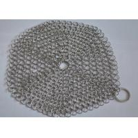 China 4*4 Rectangle Chainmail Cast Iron Pan Scrubber For Clean Cookware , Food Grade on sale