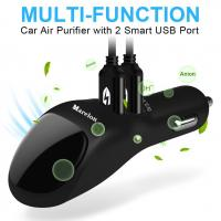 China 2 USB Port  Smart Car Charger With Ionic Air Cleaner Ionizer , Car Air Purifier wholesale