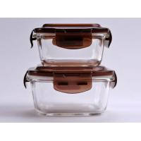 China 290ml Square Clear Glass Food Storage Containers With Color Lid Used In Oven wholesale