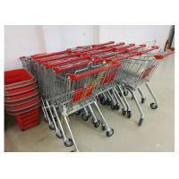 China Grocery Store Wire Shopping Trolley Metal Retail Carts 60L With Zinc Plated wholesale