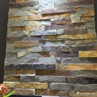 China Natural Stone Rust Slate Mini Panel For Wall Cladding High Temperature Resistance wholesale
