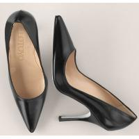China Stiletto Black Pointed Toe High Heel Leather Shoes wholesale