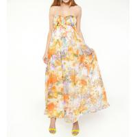 China Chiffon Print Floral Ankle Maxi Dress , Ladies Lightweight A-line wholesale