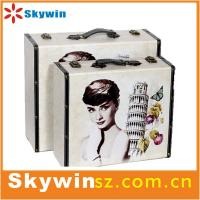 2014 most popular leather super thin briefcase vinyl record player with MP3