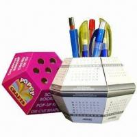 China Advertising Pop-up Ball Paper Pen Holders, Cube Measures 13x13x7.5cm wholesale