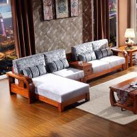 Modern Chinese style nanmu wood sofa Corner cloth art sofa combination High-grade size fam