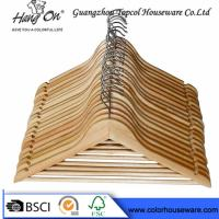 China Hotel Natural Wooden Hangers / Jacket Coat Hangers With Chrome Round Hook wholesale