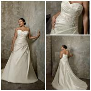 China Latest strapless satin lace beading p-010 plus size wedding dress wholesale