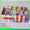 China LDKZ-005 mixed summer color woven drawer ,pp yarn strap woven storage box  organizer wholesale