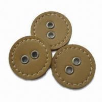 China Hand-sewed Covered Buttons, Oeko-tex 100/CPSIA Certified, Made of PU Leather wholesale