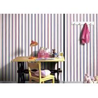 China Contemporary Blue And Red Striped Bedroom Wallpaper / Non Woven Wallcovering wholesale