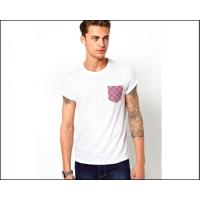 China mens blank white tee shirt with printed Pocket  oem logo service wholesale