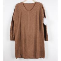 China Long Knit Dresses Women Cable Knit Sweaters Loose Pullover V Neck wholesale