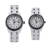 China Branded Analog Quartz Couple White Ceramic Watches With Sapphire Glass wholesale