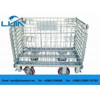 China Zinc Finish Wire Mesh Cages With Foot Brakes / Castors Rigid Rolling Metal wholesale