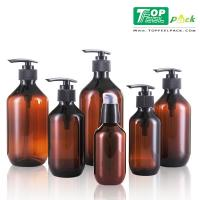 China Amber Recyclable Plastic Shampoo Bottles Screw Sealing Cap Thick Wall wholesale