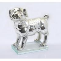 Polished Silver Poly Resin Dog Figurines / Customized Size Modern Resin Dog Statue