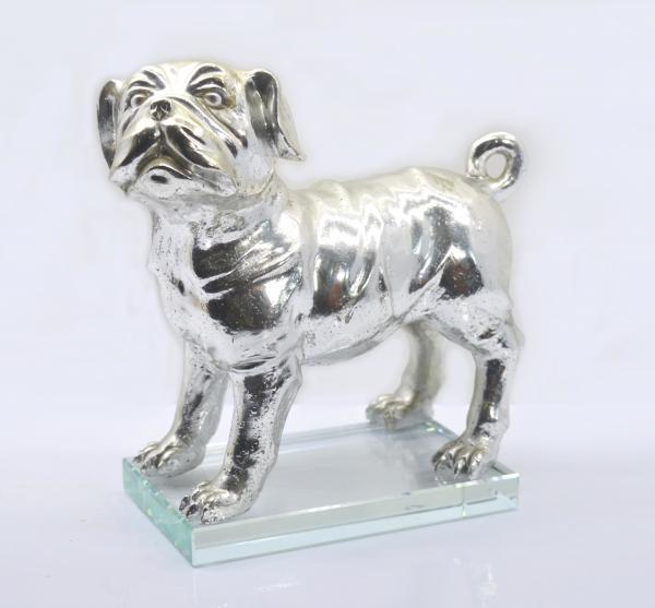 Quality Polished Silver Poly Resin Dog Figurines / Customized Size Modern Resin Dog Statue for sale